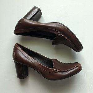 Franco Sarto 6.5M Chocolate Brown Leather Heels